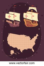 columbus day icons and map