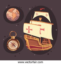 columbus day icons and caravel
