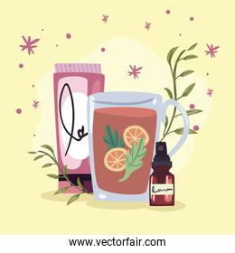 spa tea with products
