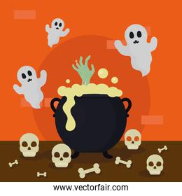 halloween witch cauldron and ghosts