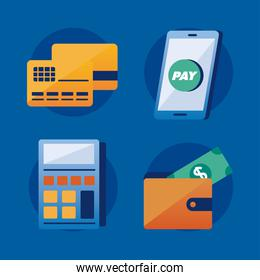 Payment solutions icon set
