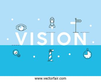 vision word and icons