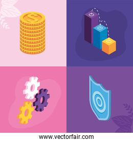 four payment solutions icons