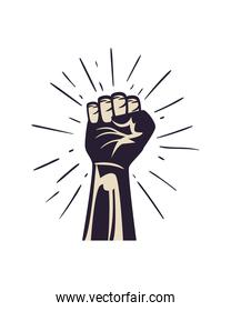 Protest draw and black fist with lines
