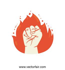 Protest fist in flame