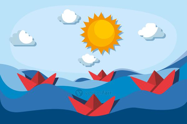 red paper boats on sea