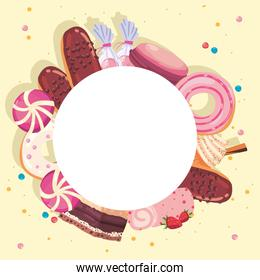 label with sweet food icon set
