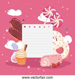 note paper with sweet food icon collection