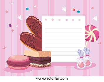 Note paper with sweet food icons