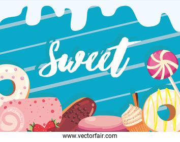 Sweet food icon group