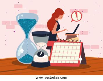 woman working with calendar and sand hourglasses