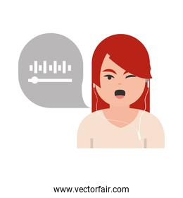 woman listen to podcast