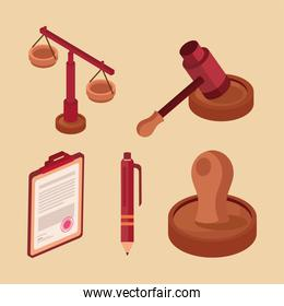 five legal advice icons