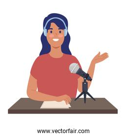 woman podcaster icon