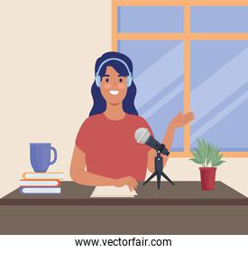woman podcaster in workplace