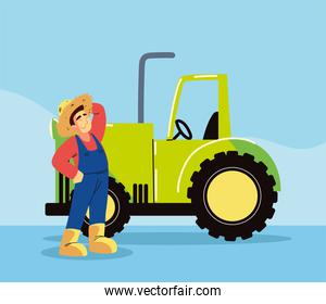 farmer man and tractor