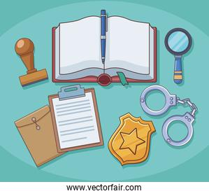 justice book and law icons
